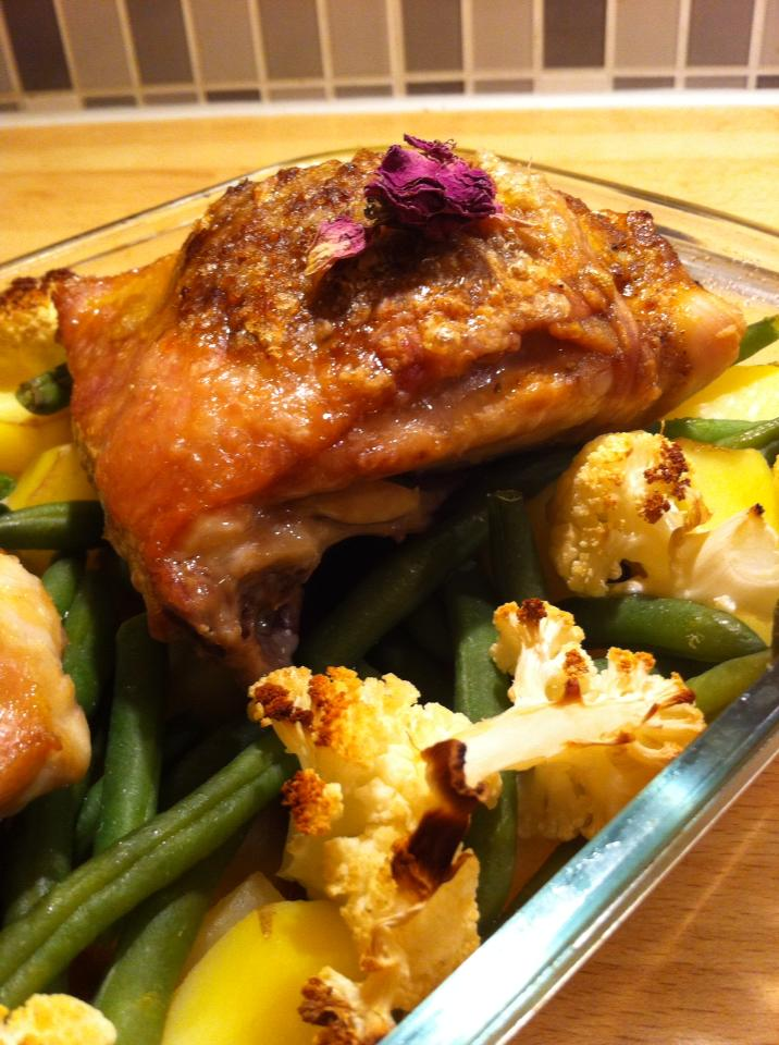 Rose chicken with petals