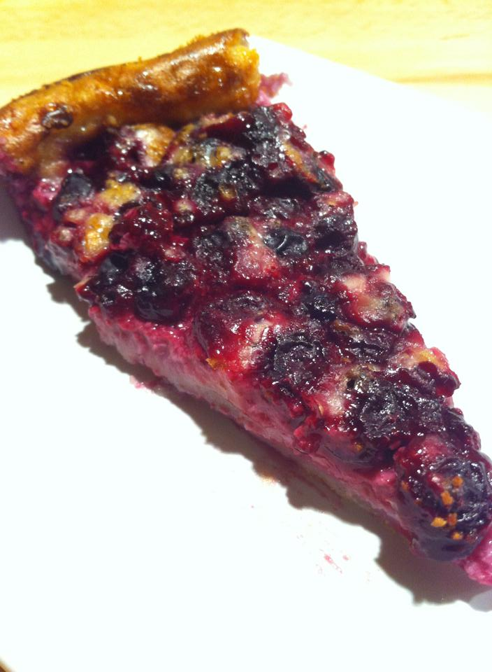 Clafoutis with blackcurrant and honey