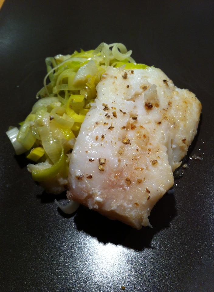 Butter fried Cod with Malabar pepper and tossed butter leeks