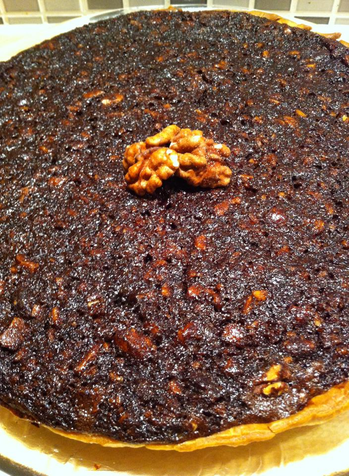 Chocolate pie with nuts and chili