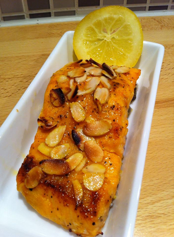 Saffron Marinated Salmon with almond