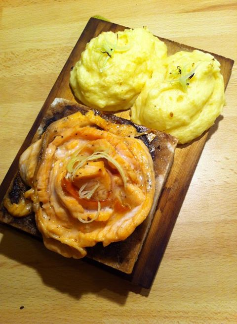 Salt Stones baked Salmon Rose and mashed with permasan