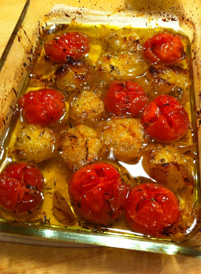 Confit tomatoes with herbs and garlic